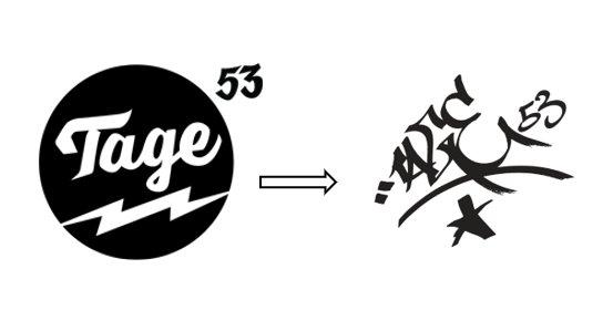En la parte izquierda esta el logotipo con el que empezó nuestra marca y a su derecha se encuentra el nuevo logotipo de Tage53.
