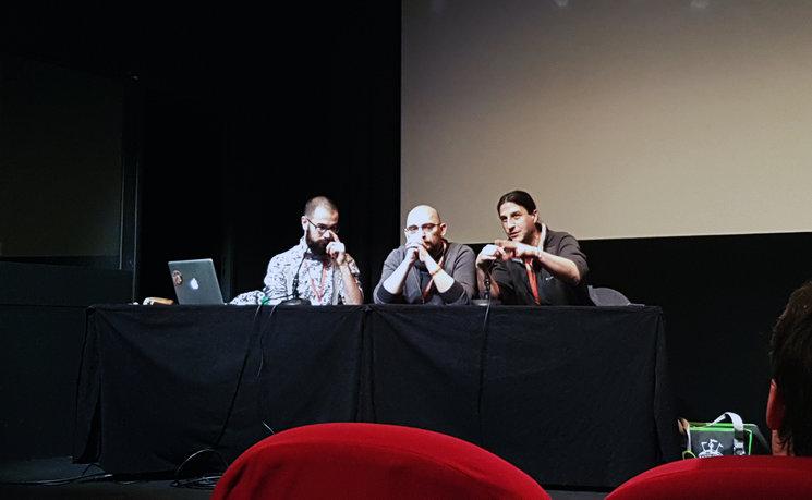 Conferencia de Antoine Bauza, Ludovic Maublanc y Théo Rivière. Foto: Eloi Pujades