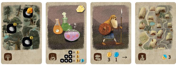 zona de acciones del jugador, cartas de inicio donde recolectar ámbar, transformarlo en joyas, transportarlo con el viajero y ofrecerlo en una villa