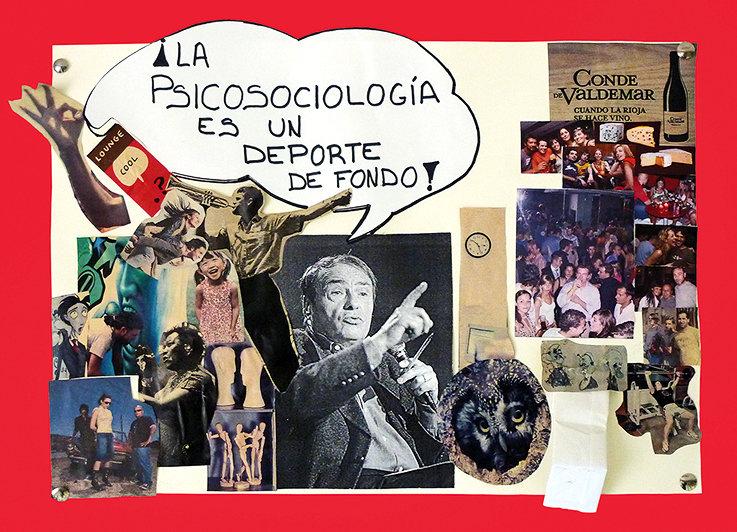"""Pierre Bourdieu, protagonista central de este collage presente en un aula de la asignatura """"Psicología social""""."""