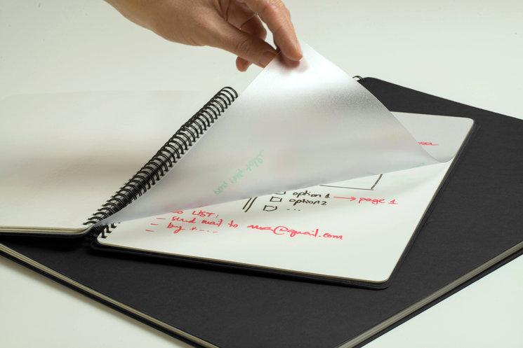 Haz modificaciones en la lámina transparente de lo que has escrito en la pizarra o bien de un documento, sin dañarlo.