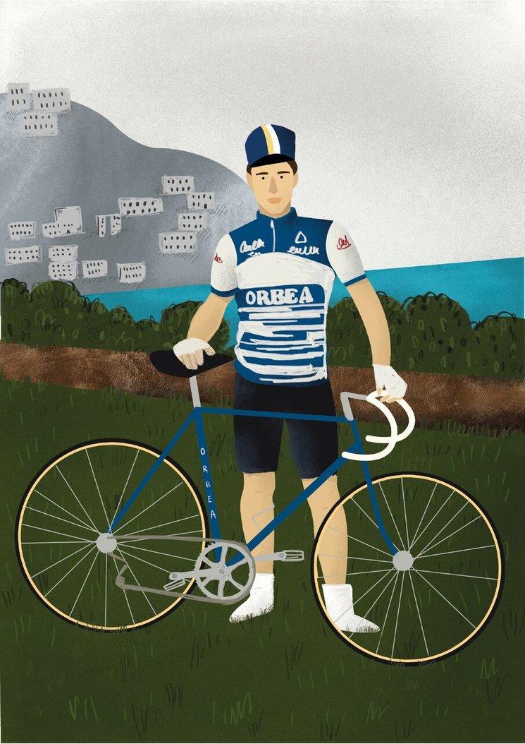 Perico Delgado. 2018. Retrato ilustrado por Martrosky a partir de su postureo en Bici.