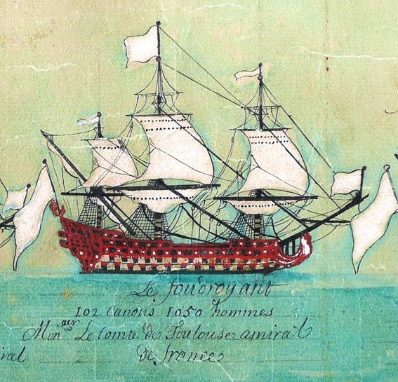 El Foudroyant era el buque insignia de la Armada Franco-Española, de 102/104 cañones. En el servía Lezo, bajo el mando directo del Almirante. Las banderas blancas indican la sección que correspondía al Conde de Toulouse.