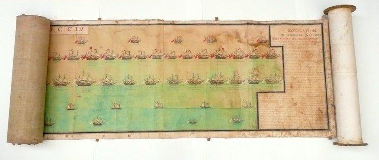 Orden de la batalla de Vélez-Málaga. El plano de batalla fue adquirido en 2016 por el Servicio Histórico de Defensa francés (SHD) a través de un mecenazgo popular. Es obra de Jérôme Hélyot, teniente de artillería durante la batalla.