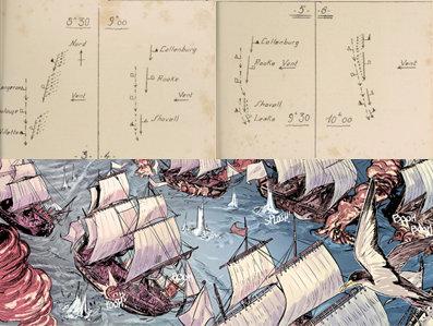 Para los dibujos resulta indispensable conocer la dirección de los barcos, la hora del combate, la climatología y muy importante, la dirección y, trascendental, la dirección y fuerza del viento. La campagne des jonctions : la bataille de Velez-Malaga: (24 août 1704) obra de L. V. Favier, 1928.