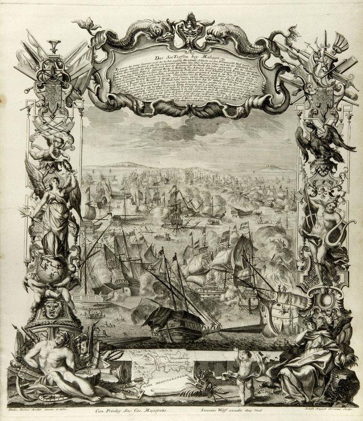 La Batalla de Vélez-Málaga se convirtió en un hito de su época. Al no haber un vencedor claro, ambos bandos continuaron la batalla mediante publicaciones propagandísticas y épicas como esta obra de Jeremias Wolffens, c.1710.