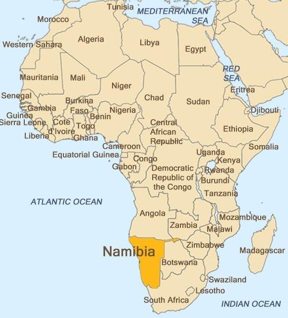 Localització de Namíbia en el continent africà.