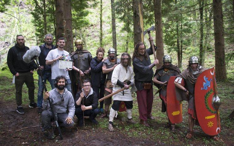 Parte del equipo en el primer día de rodaje