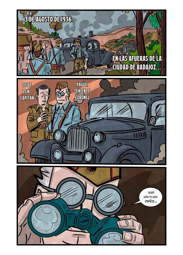 Las fuerzas Nacionales llega a Badajoz