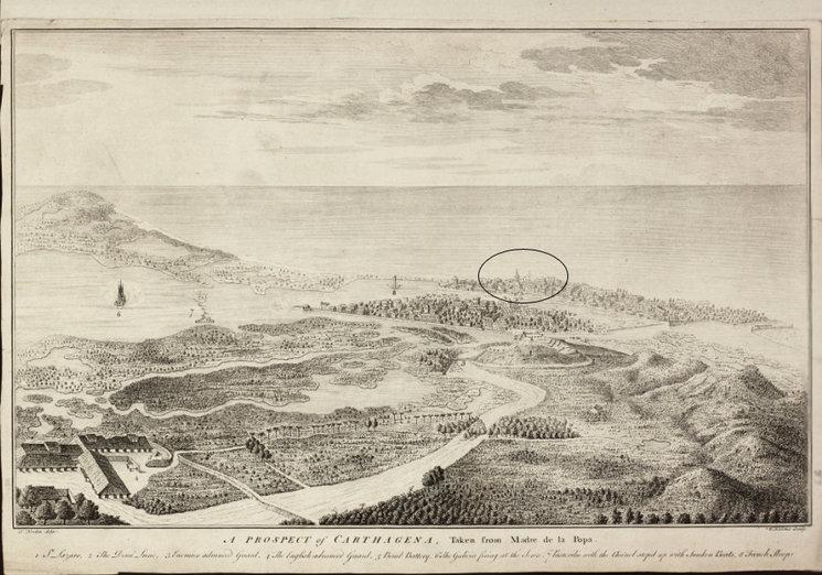 Hemos identificado la iglesia en este grabado inglés del asedio.