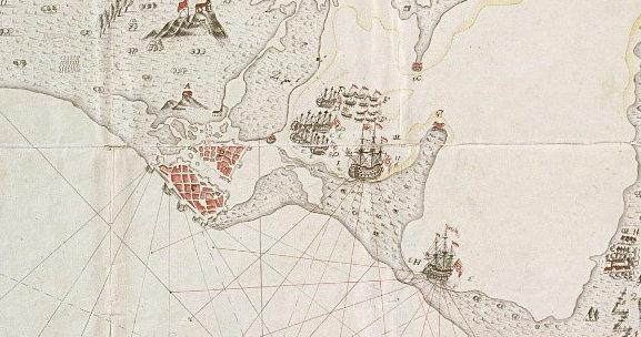 Plano de Lezo defendiendo el mismo lugar con los navíos Conquistador y Dragón, con los que no contó para la defensa de Bocachica.