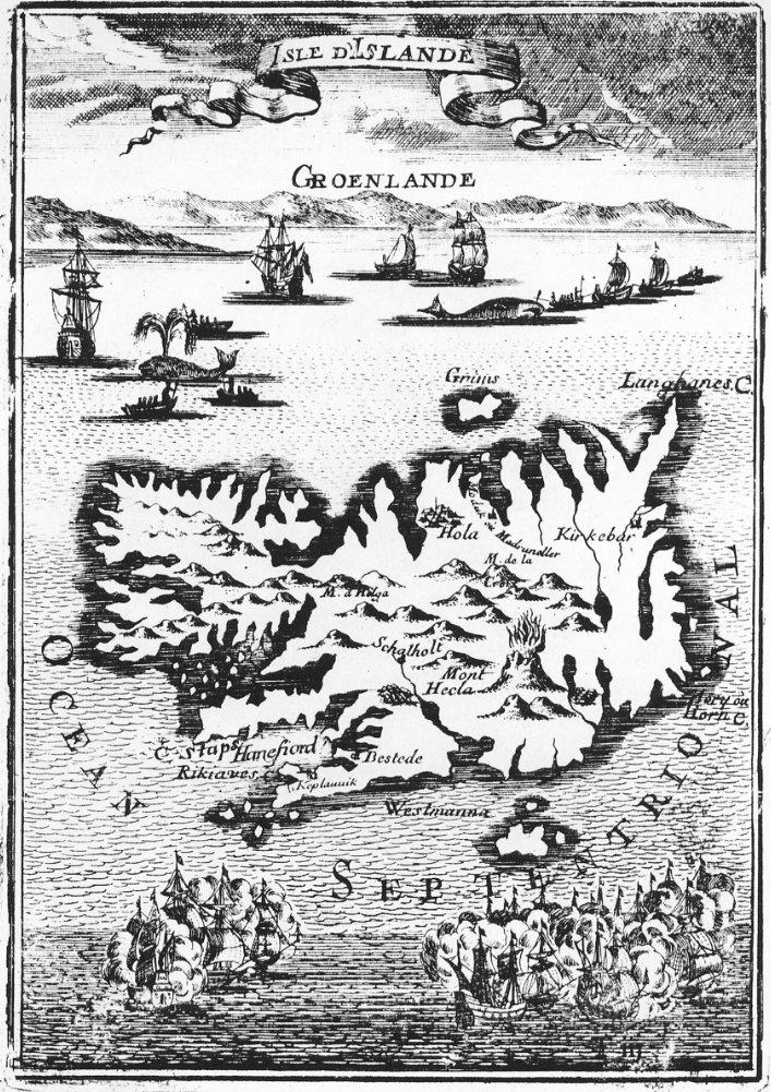 Mapa de Islandia del siglo XVII con barcos balleneros. Untzi museoa