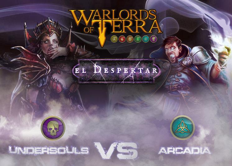 """Frontal de la caja de Starters """"Arcadia VS Undersouls"""""""