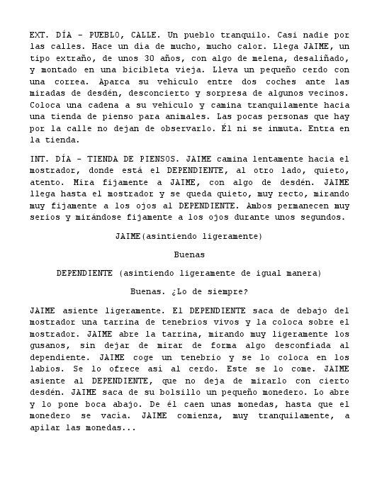Primera página del guión