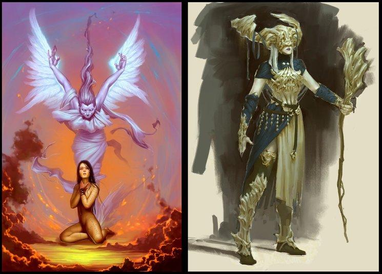 una oráculo talyäri y su espíritu devâ a la izquierda, y los efectos de la corrupción a la derecha