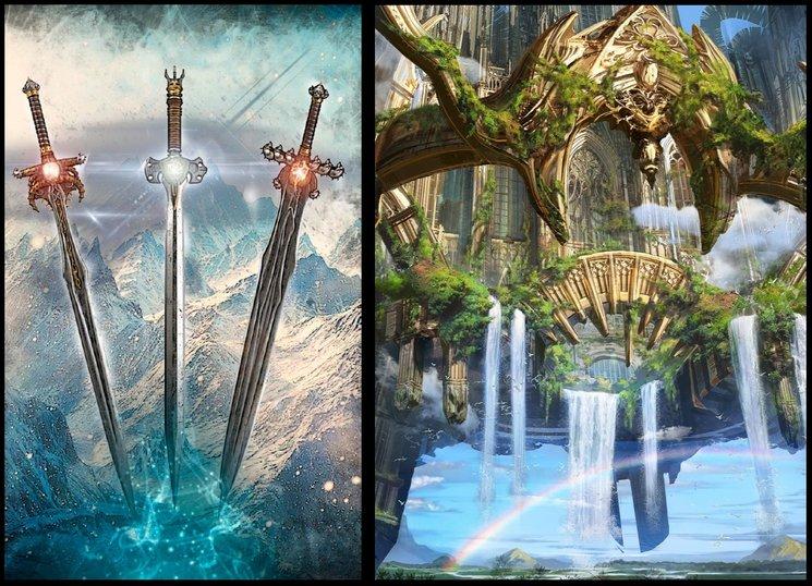 las tres espadas perdidas de Svaellân a la izquierda, y una de las perdidas ciudades m´nesiánicas a la derecha