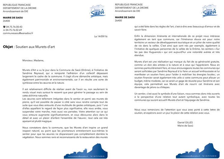 Carta de apoyo a Muretes de Arte del Ayuntamiento de Saôu, Francia.
