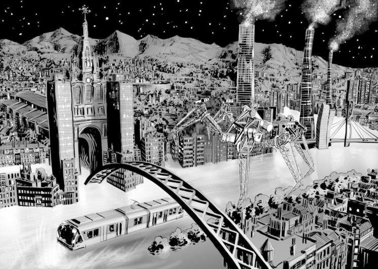 Ilustración de Daniel Gojénola que muestra el Bilbao de Leire