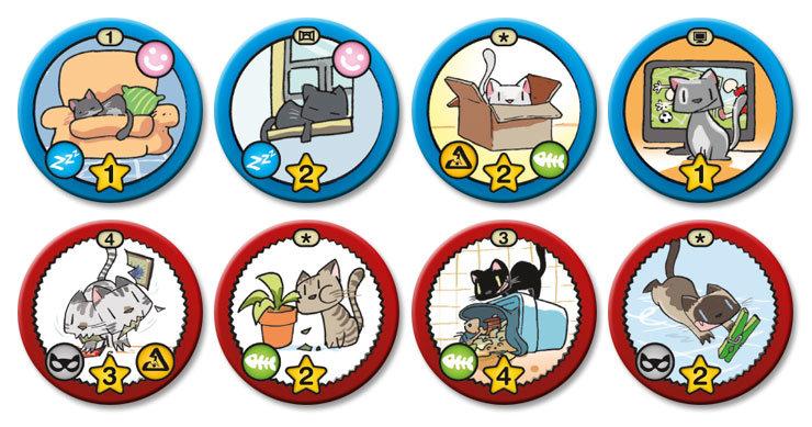 Algunas de las fichas de objetivo que reflejan lo que te gusta hacer como gato.