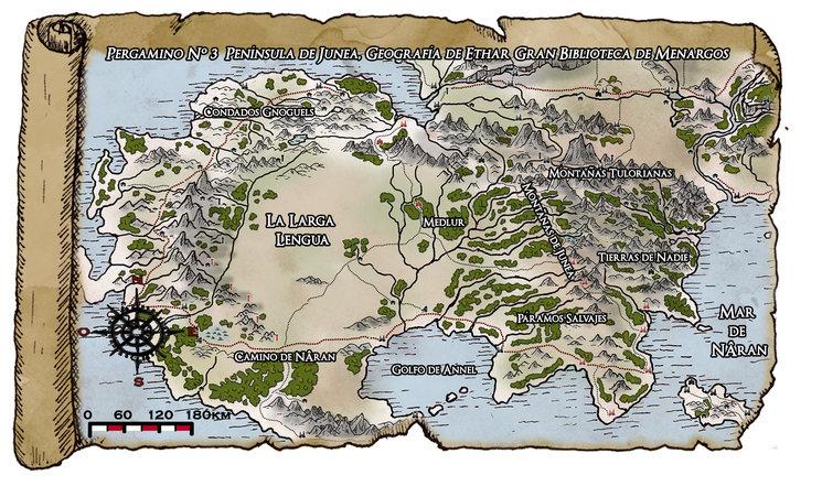 Mapa mas general que reune los dos mapas pequeños del libro. Península de Junea.