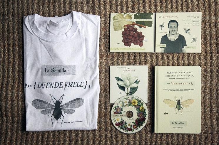 """Diseños de """"La Semilla"""", 2015. Camiseta, CD y Discolibro"""