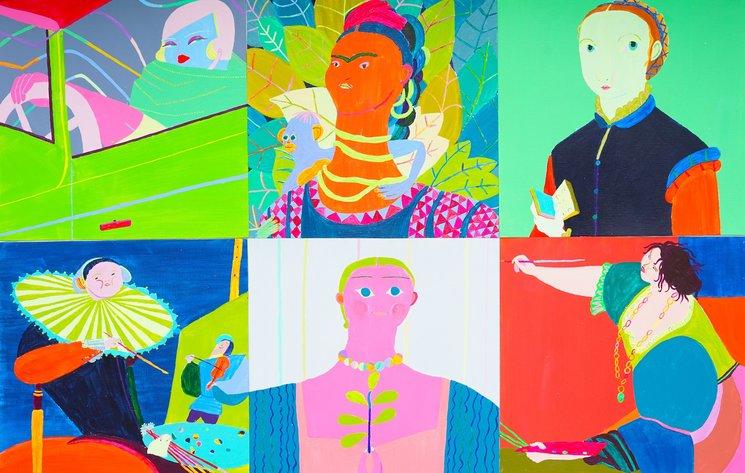 Ilustraciones de Laura López Balza para el libro a partir de los autorretratos de Tamara de Lempicka, Frida Kahlo, Sofonisba Anguissola, Judith Leyster, Paula Modersohn-Becker y Artemisia Gentileschi