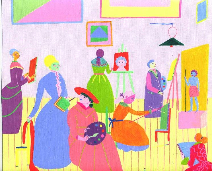Esta es la ilustración de Laura para el autorretrato de Marie Bashkirtseff en su academia de pintura