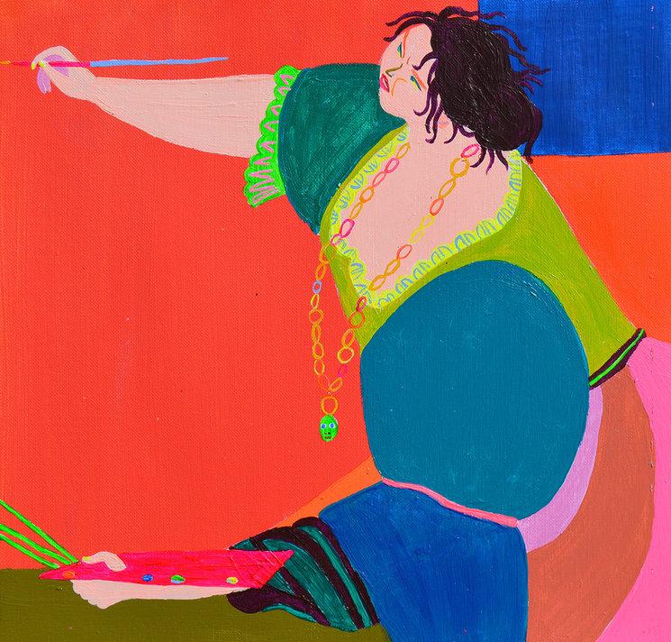 Esta es la ilustración de Laura para el autorretrato de Artemisia Gentileschi