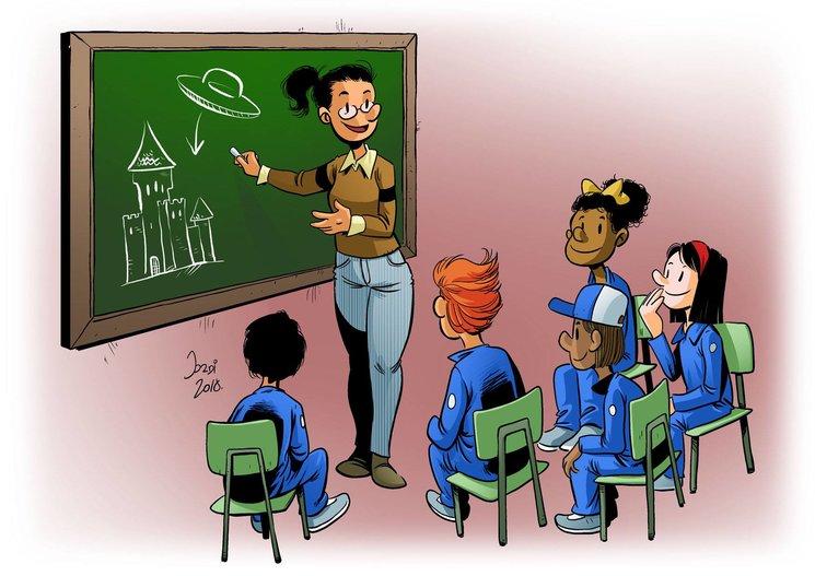 La profe explicando el juego en clase