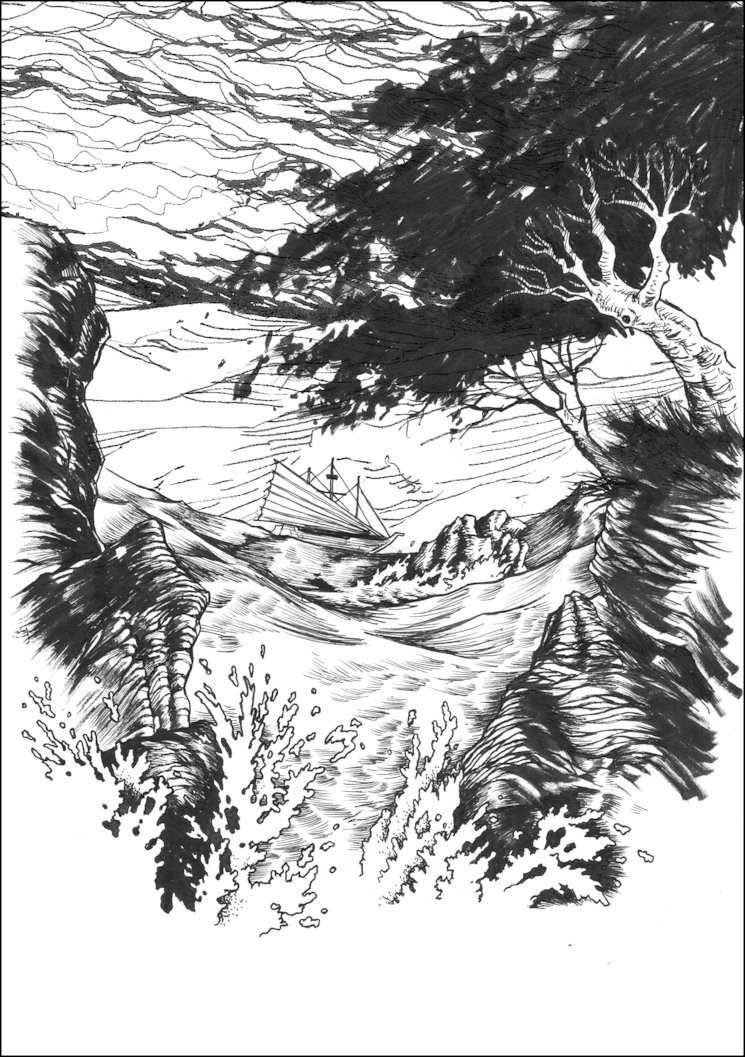 Una de las ilustraciones de El Barco de Velas Rojas, una novela de TyG