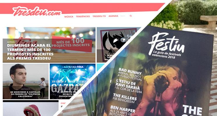 El web de Tresdeu.com i el Festiu, la guia de festivals valencians 2018