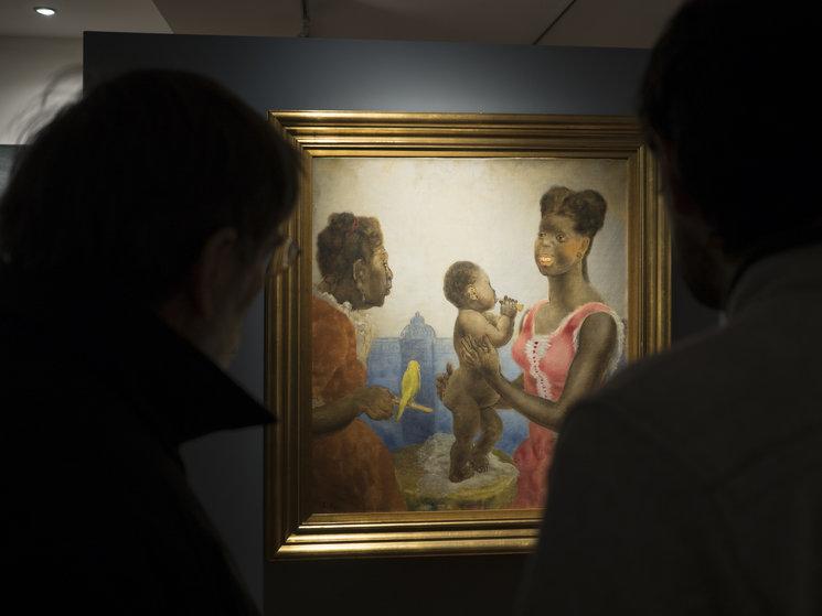 "Dos espectadores ante ""Cuadro visto en Jamaica"" o ""Maternidad negra"", Evaristo Valle, c. 1949. Colección Museo de Bellas Artes de Asturias."