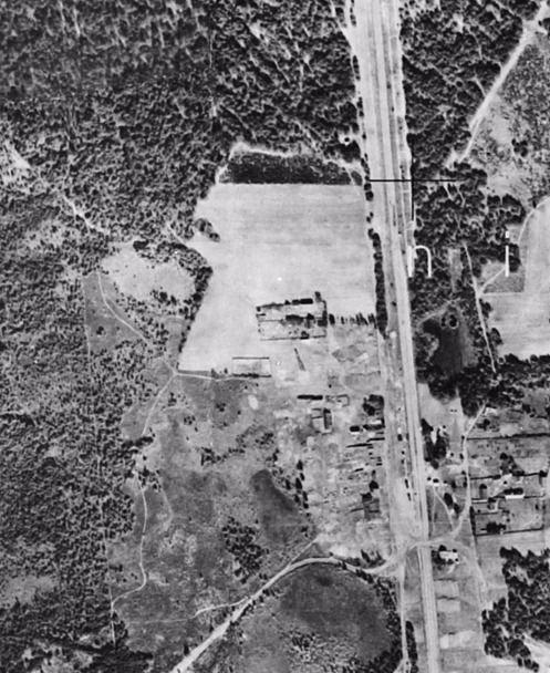 Fotografía aérea mostrando los terrenos de Sobibór durante su construcción en 1941