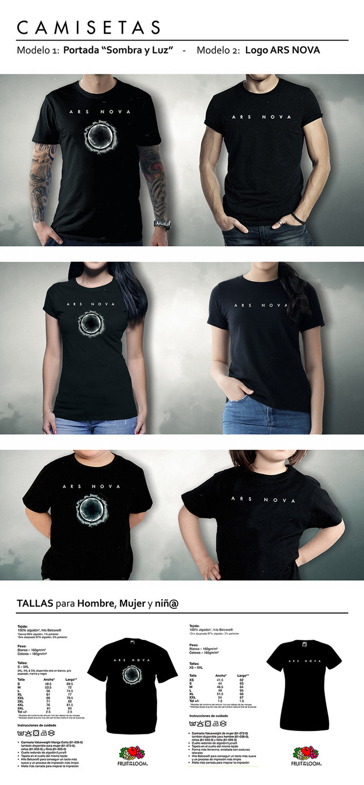 ARS NOVA T-Shirts, 2 designs to choose from and all sizes for men, women and children available.