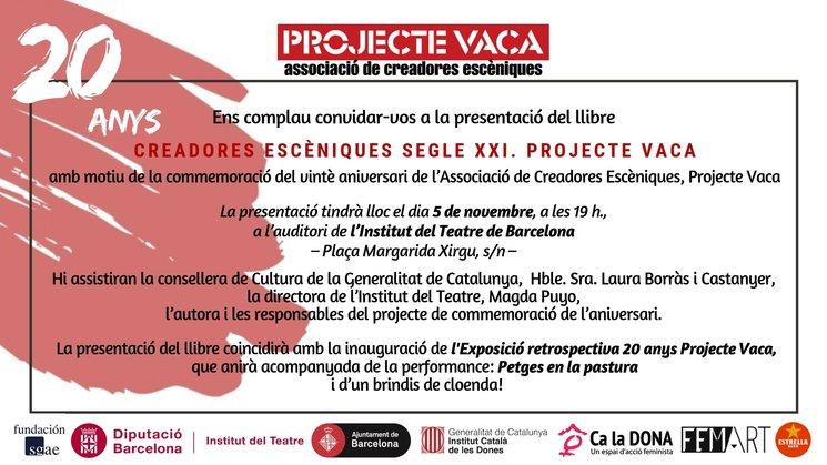 """Invitació presentació llibre """"Creadores Escèniques del Segle XXI-ProjecteVaca"""