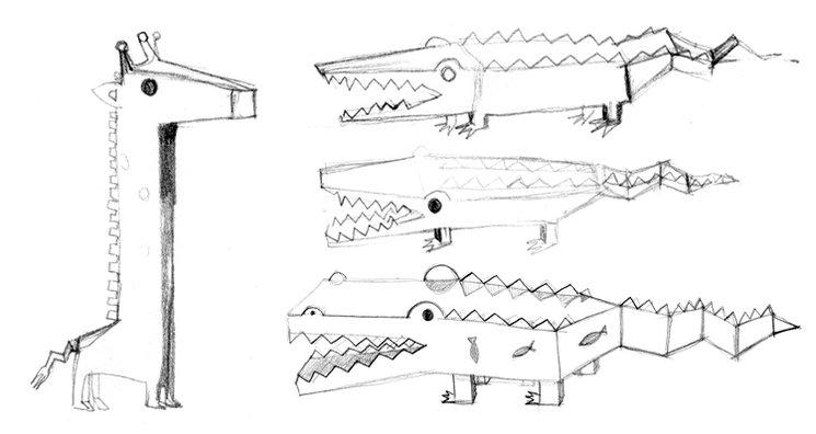 Boceto de Nijira acechada por tres hambrientos Nicocos.