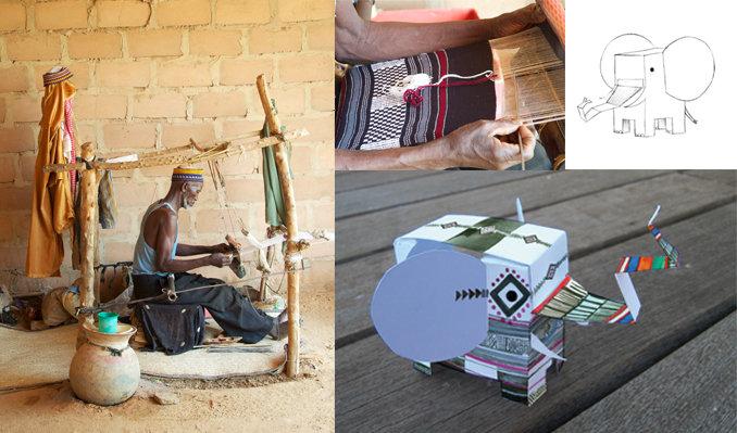 Artesanos de Níger con los textiles (fotos facilitadas por Muakbaby) y Nifante.