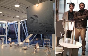 Exposición de lámparas de Re-board® en la UFV, proyectado con Emilio Delgado.
