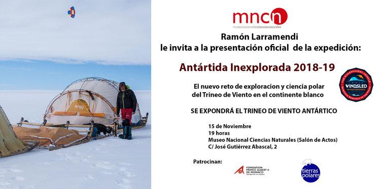 Invitación a la presentación de 'Antártida Inexplorada 2018-19'