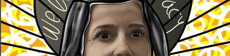 Detalle del vitral de una tal Inés Arrimadas. La Virgen de los Dolores