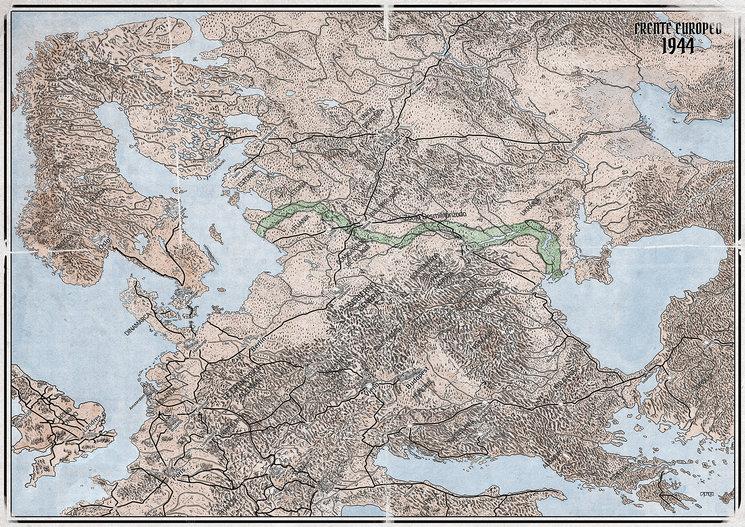 Mapa del Frente Oriental a la firma del Armisticio en 1944