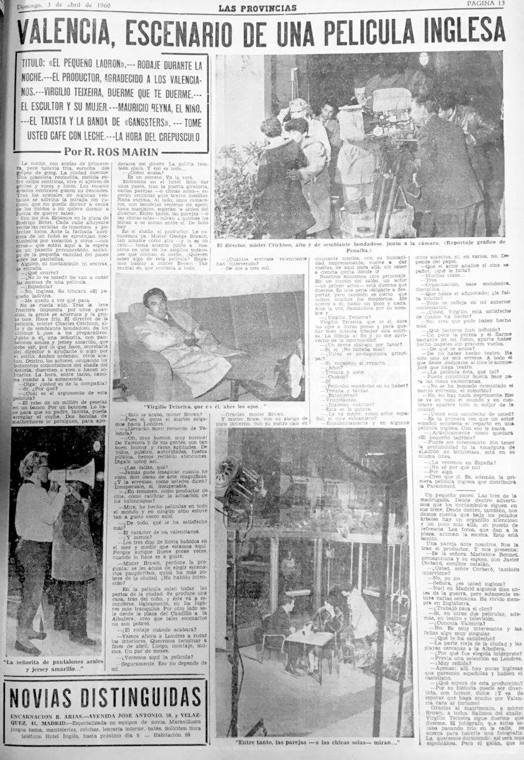 Las Provincias, 3 de abril de 1960. Reportaje de Ricardo Ros con fotografías de José Penalba.