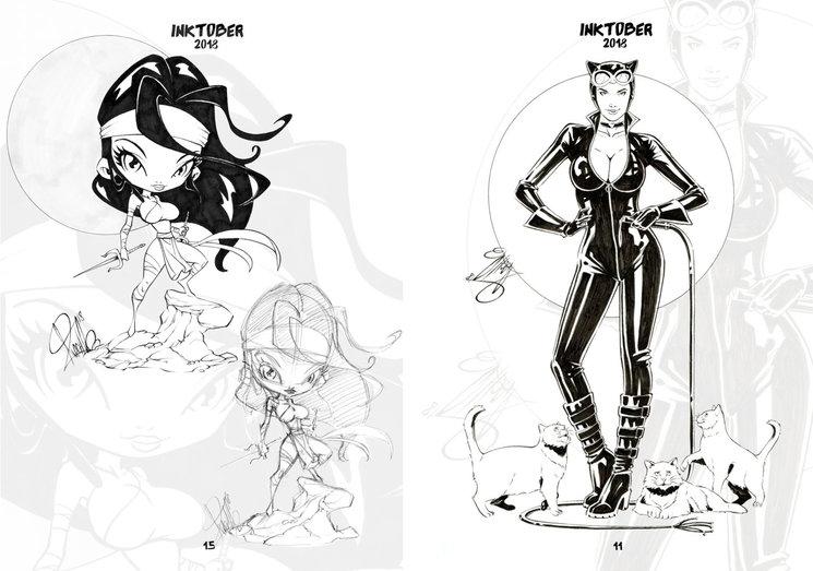 Página del desarrollo de Mini Elektra / Página del Inktober de Cat Woman