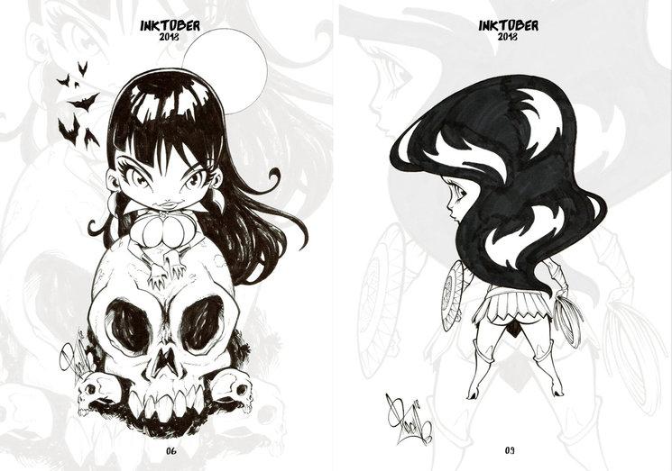 Página del Inktober de Vampirella / Página del Inktober de Mini Wonder Woman