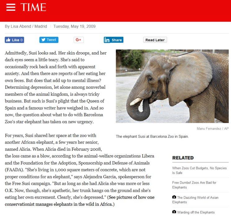 Notícia en TIMES. 19/05/2009