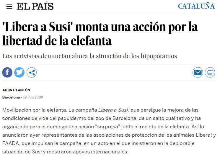 Noticia en El País 19/02/2009