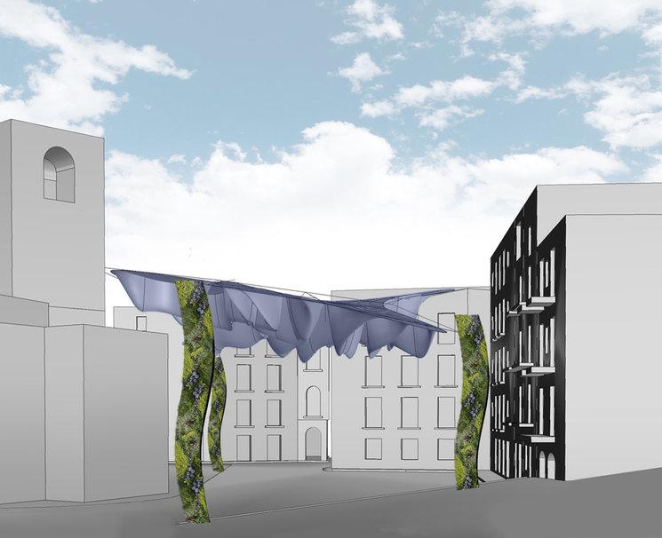 La estructura para sostener la cubierta textil se convierte en tres grandes jardines verticales escultóricos.