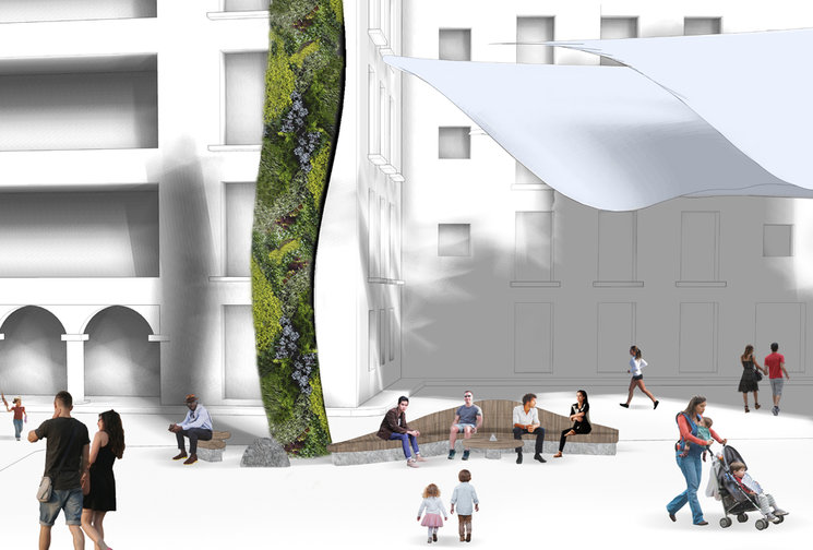 Perspectivas de la plaza con el nuevo mobiliario publico alrededor de los jardines verticales.