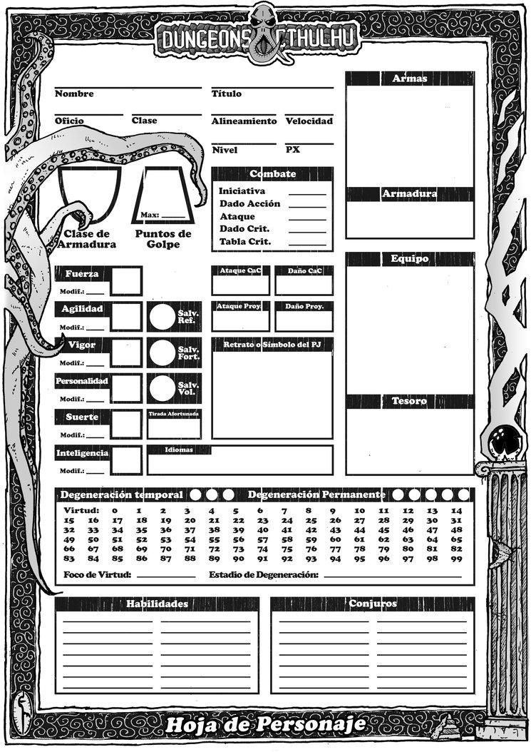 Ficha de Dungeons & Cthulhu para Clásicos del Mazmorreo. Incluida en el módulo. Obra de Eneko Menica.