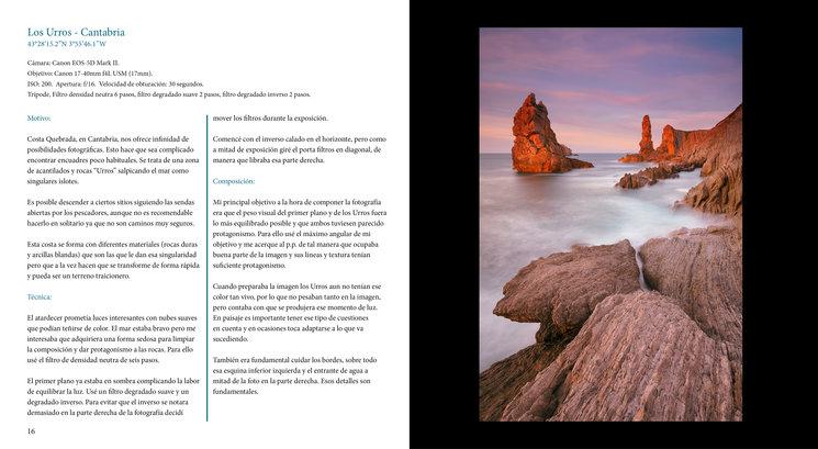 Uno de los pliegos del libro donde mostramos una fotografía de Costa Quebrada, en Cantabria.